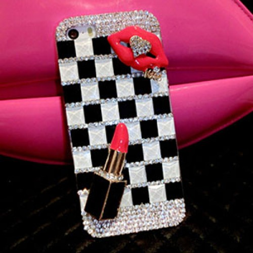 Check Fashion Bling Crystal Pearl Rhinestone Hard Clear Case Cover Transparent For Samsung and iPhone
