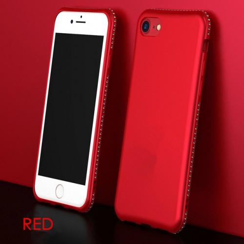 Red MaxGear Rhinestone Silicone Case Glitter Matte Luxury Diamond Cover For iPhone