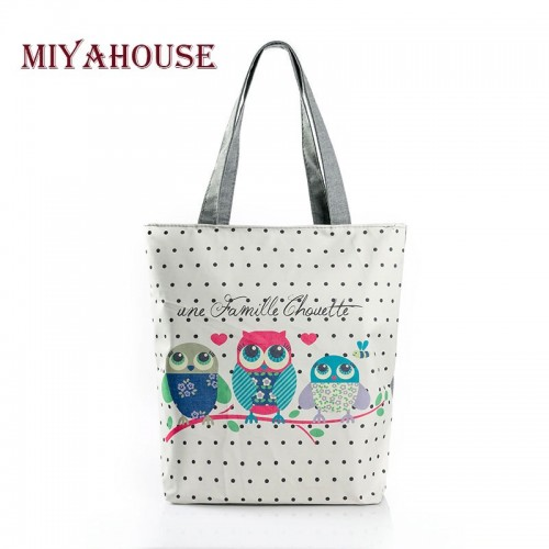 Floral And Owl Printed Women's Casual Tote Female Daily Use Female Bag