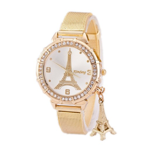 Beautiful Tower Gold Rhinestone Watch