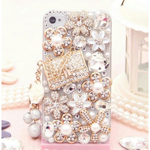 Purse Fashion Bling Crystal Pearl Rhinestone Hard Clear Case Cover Transparent For Samsung and iPhone