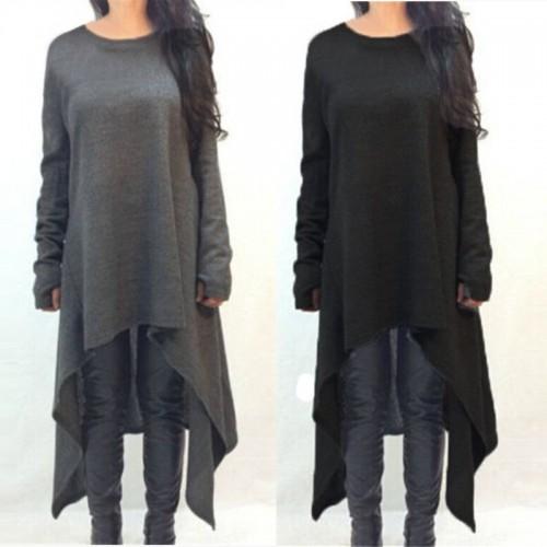 Long Sleeve Knitted Irregular Hem Maxi type Sweater