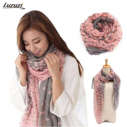 Fashion Dots Women Large Long Voile Scarves Shawls Wraps Foulard Femme 165*80cm
