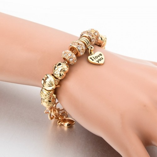 Pandora Bracelet With Heart Charms Beads Golden