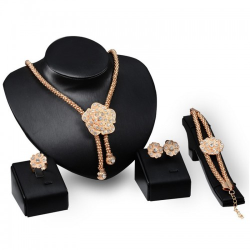 Crystal Bridal Golden Flower Design Jewelry Set