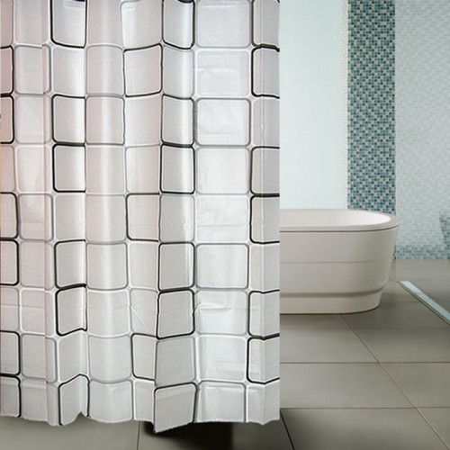 Bathroom Waterproof Shower Curtain With 12pcs Curtain Hooks Rings