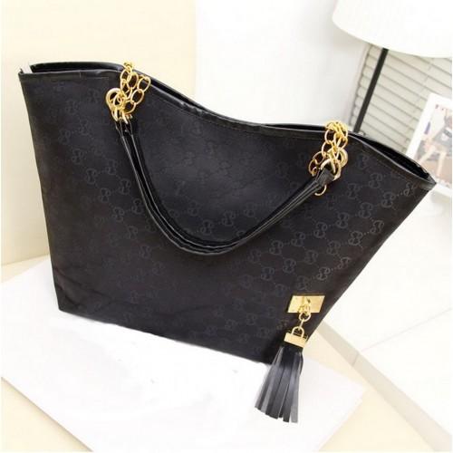 Faux Leather Shoulder Bag Black