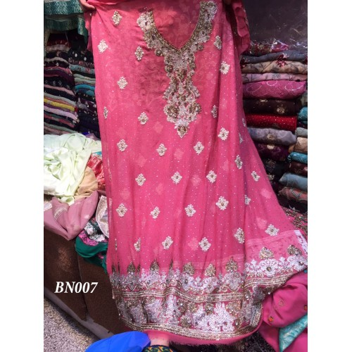 Pink embellished chiffon Suit
