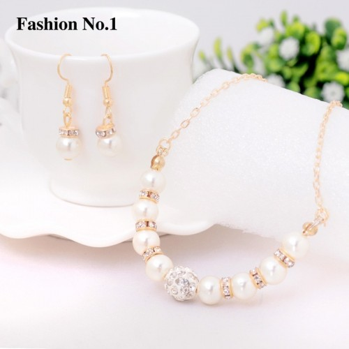 Elegant Choker Necklace Set Simulated Pearl Drop