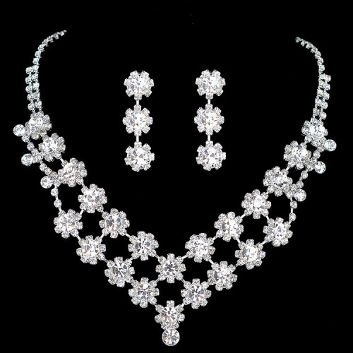 Crystal Prom Rhinestone Necklace Set