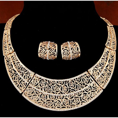 Gold Silver Pierced Jewelry Set