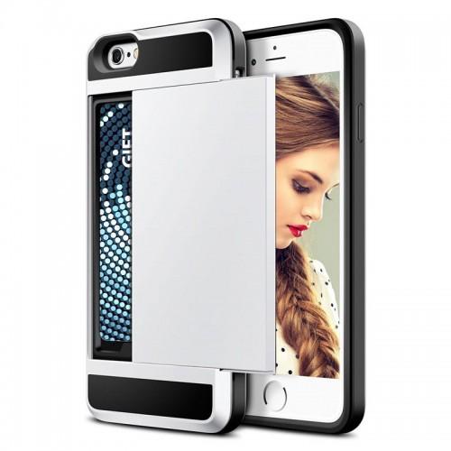 Silver New Hybrid Tough Capa Case Slider Card Holder Wallet Armor Phone Back Cover