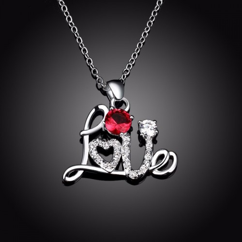 Silver Plated Chain Love Pattern Necklace Red