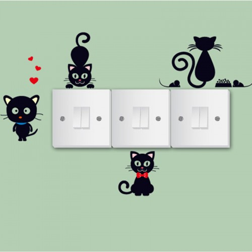 DIY Creative Black cat love Cartoon Removable Switch stickers PVC Wall Sticker Vinyl Decal Home Decor Decal Socket paste