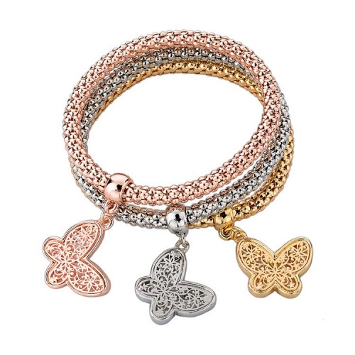3 Pieces Fashion Bracelets Gold Hollow Charm Butterfly
