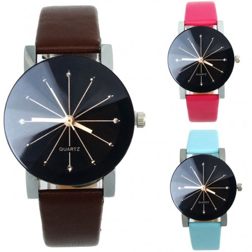 Quartz Dial Clock Leather Wrist Watch