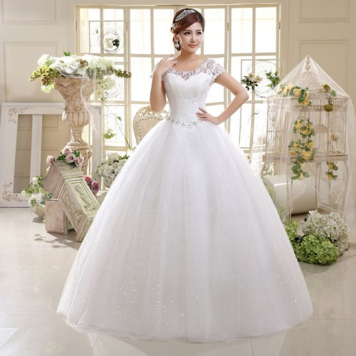 Double Shoulders Lace Up Bridal Gown