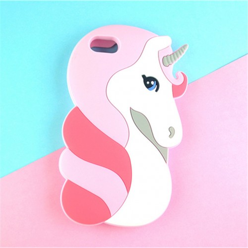 Unicorn white 3D Soft Silicone Phone Case Cover for iPhone