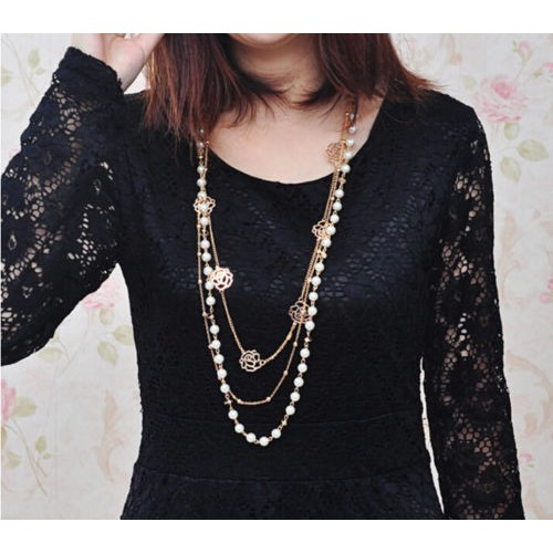 Chains Pearl  Necklace Flower Multilayer Rose
