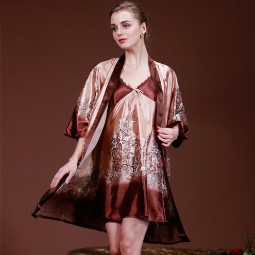 Women Sleepwear Silk Dress Gown