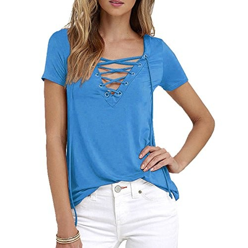 Owlprincess Hollow out Strappy Front Causal Short Sleeve Top Sky