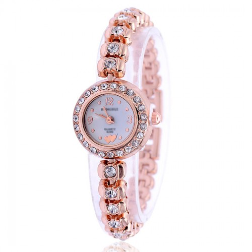 Alloy Band Rose Gold Bracelet Quartz Watch