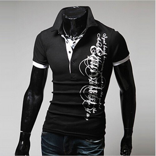 Letters Printed Men's Sports Shirt Black