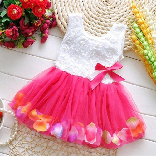 Colorful Mini Tutu Petal Hem Flower Dress