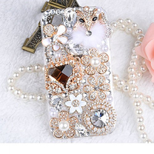 Pearls Fashion Bling Crystal Pearl Rhinestone Hard Clear Case Cover Transparent For Samsung and iPhone