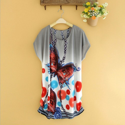 Short Sleeves Loose Printed Blouse