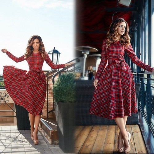 Red plaid dress vestidos