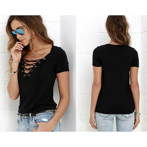 Owlprincess Hollow out Strappy Front Causal Short Sleeve Top Black