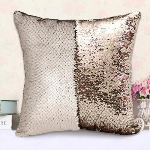 Matte Gold Mermaid Sequin Cushion Cover Magical Shining Pillow Case Patchwork Decorative Sofa Car Fashion 40X40cm