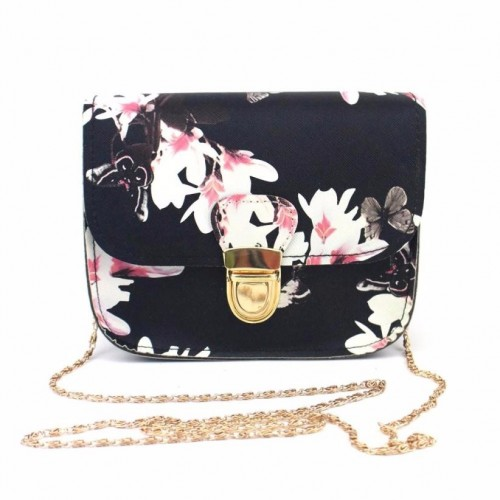 Fashion Women Butterfly Flower Print Small Shoulder Bag Leather Crossbody Messenger Bag For Girls