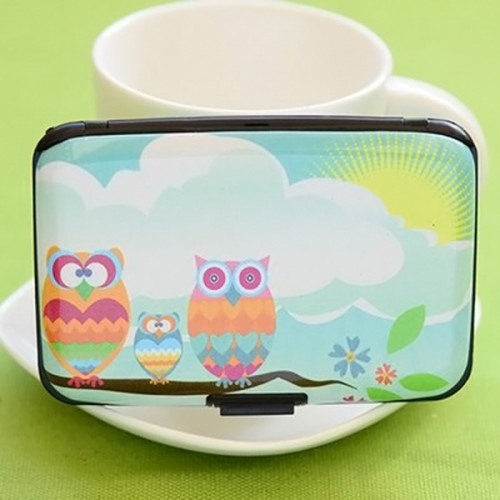 Cute Owl Printed Wallet Case Credit Card Holder 7 Cards Slots Theft Proof with Extra Security Layers