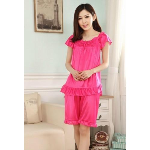 Short Sleeve Pijama Spring Summer Femme Silk