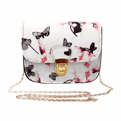 White Fashion Women Butterfly Flower Print Small Shoulder Bag Leather Crossbody Messenger Bag For Girls