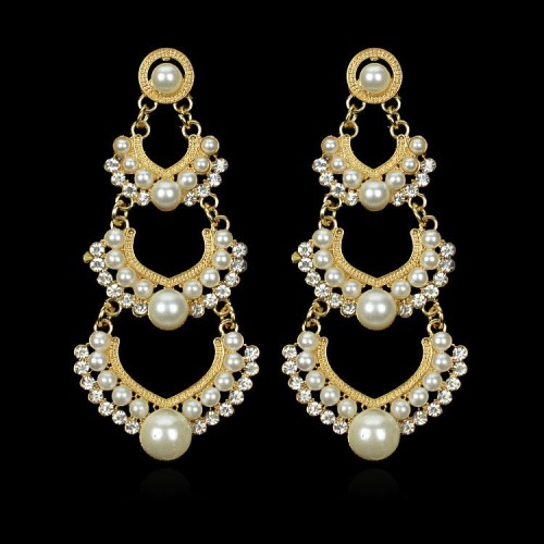 Pearl Gold Plated Dangle Earrings