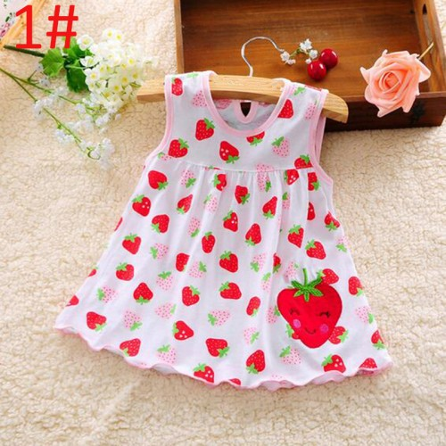 Cute Strawberry Design Cotton Frock