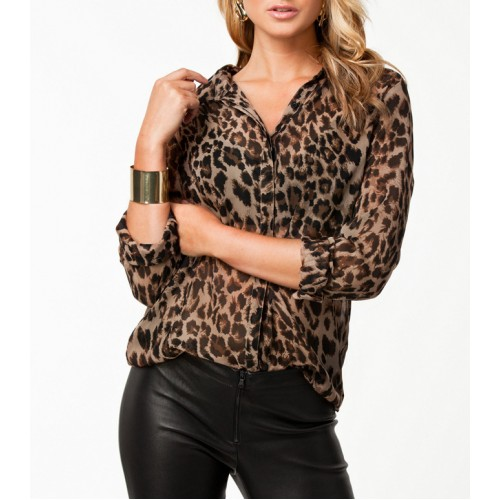 Leopard Printed Long Sleeve Chiffon Top