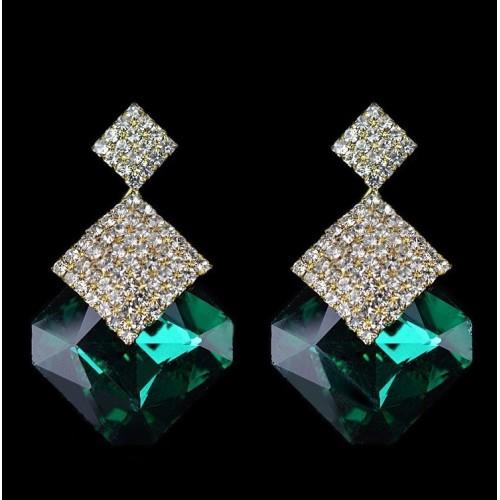 Crystal Luxury Stud Earrings Green
