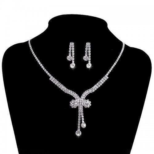 Rhinestone Necklace Earrings
