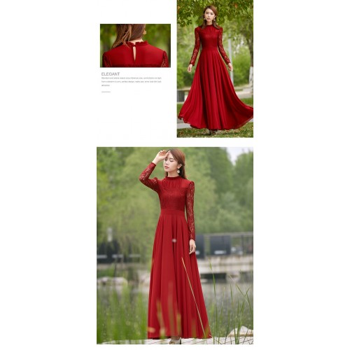 Elegant Lace Chiffon Long Wine Red Flared Maxi