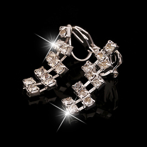 Glaring Shiny Crystal Silver Jewelry Set