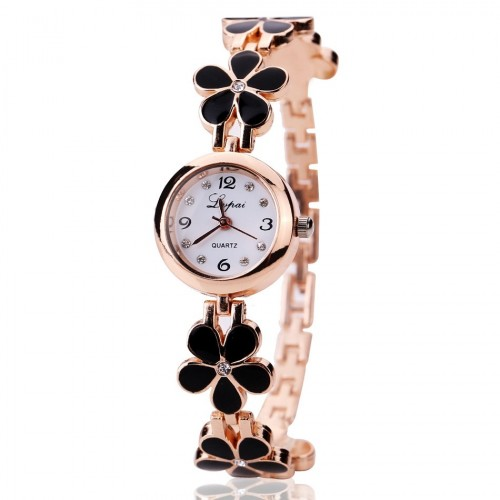 Black Luxury Crystal Gold Watch Women Fashion Bracelet Quartz Wristwatch Rhinestone
