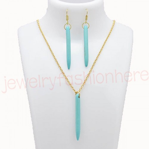 Golden Turquoise Drop Pendant Necklace Earring Set