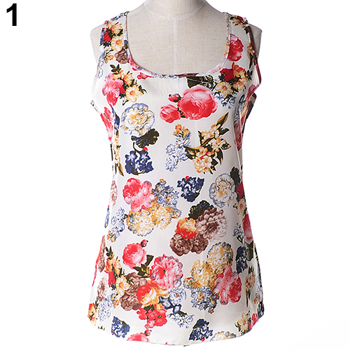 Flower Printed White Chiffion Sleeveless Top