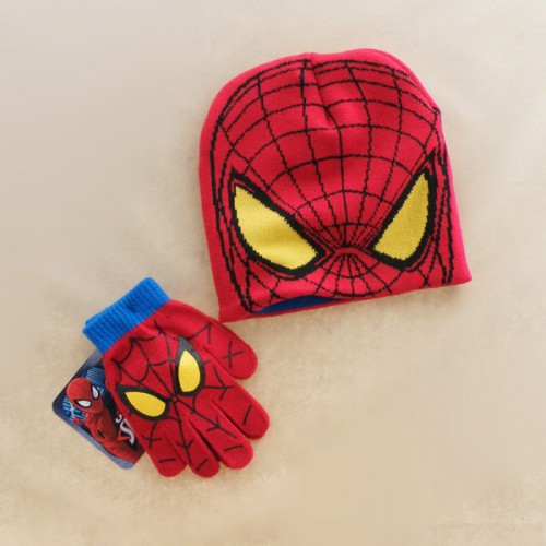 Autumn Winter Girls Boys Hat Set Cartoon Spider Man Warm Cap knitted Hat Gloves Children Hat Set
