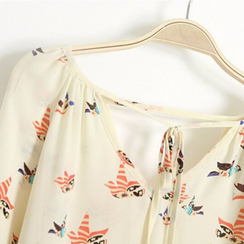 Chiffon Long Sleeves Floral Print Shirt