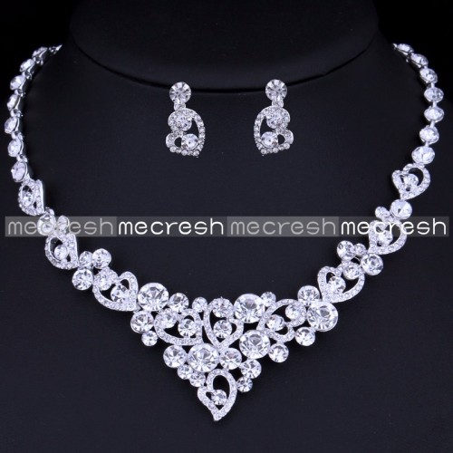 Mecresh Silver Color Heart Crystal set